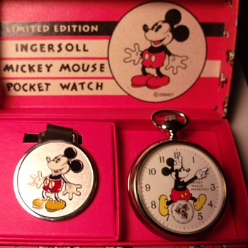 18 Jewel Ingersoll Mickey Mouse 1933 Replica Pocket Watch - Pocket Watches