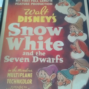 1937 FIRST EDITION SNOW WHITE & THE SEVEN DWARFS WINDOW CARD, - Movies