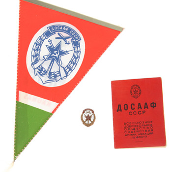 USSR badge and passport.