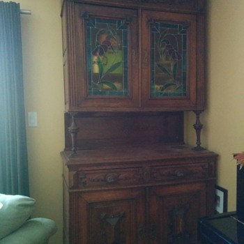 european antique wall Cabinet Cupboard with stained glass - Furniture