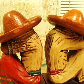 Mexican (Pixies), for Phil! pre 1950's wood carved Bookends! and Super Agua Bottle!
