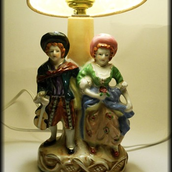 Vintage Ceramic Hand-Painted Lamp - Lamps