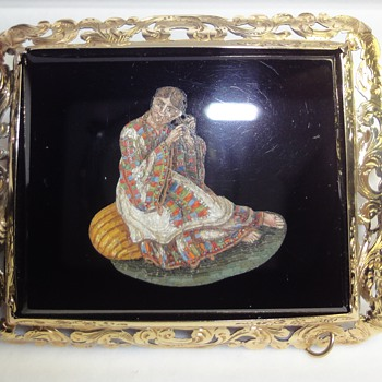Fantastic Micro Mosaic brooch depicts a lady in Folk Dress