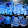 Collection of Blue Pottery and Glassware