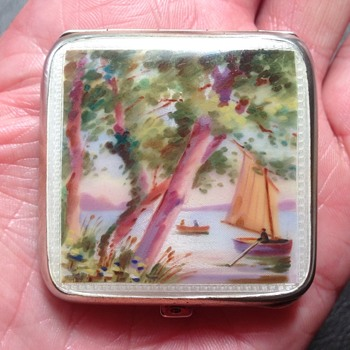 Silver Enamel Compact - Accessories
