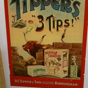 Original 1910 Tipper&#039;s &quot;3 Tips&quot; Stone Lithograph Poster