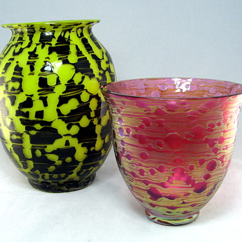 Loetz Yellow with Black vase - Art Glass