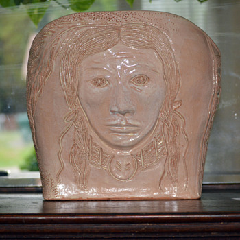 "Pottery-Indian Woman Face Depicted on the Front-""Part 1"""