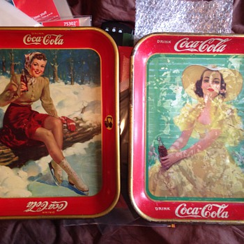 1938 & 1941 Coke Trays - Coca-Cola
