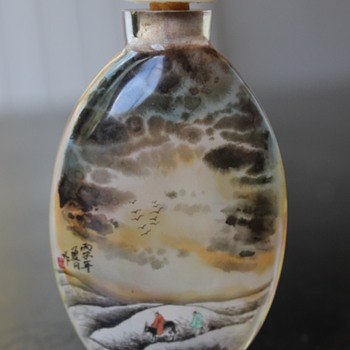 Inside Painted Snuff Bottle - Dark Clouds - Asian