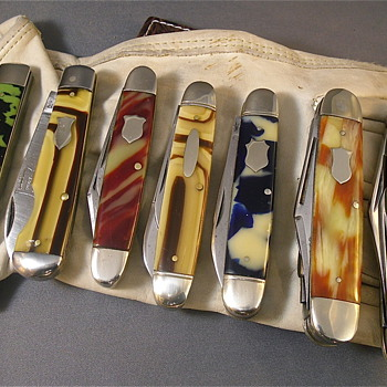 Various older solid Celluloid Pocket Knives - Tools and Hardware