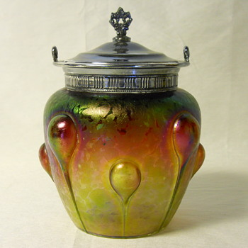Rindkopf Art Nouveau Biscuit Jar, Circa 1900 - Art Glass