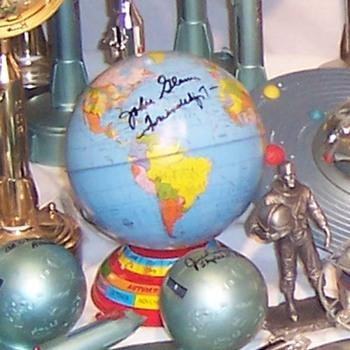 Earth Globe Bank Commemorating John Glenn: Signed