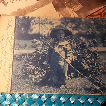 CUTE 2 YEAR OLD , 1906, OUT IN THE GARDEN WITH HIS LONG HANDLED CART