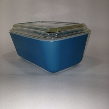 Pyrex Teal Blue 502 Refrigerator Dish 1 1/2 Pint with lid   - Kitchen