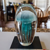 Turquoise Jelly Fish Glass Sculpture