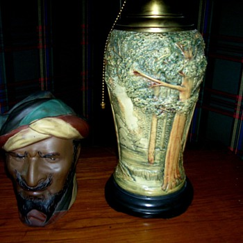 Old Weller Humidor (The Turk) And rare Weller Forest Lamp - Art Pottery