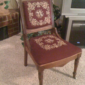 Victorian Needlepoint Chair with front roller casters
