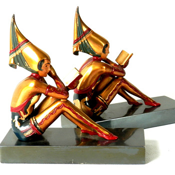 Contemplar or Gerdago Girl Bookends by H. Fugere - Art Deco