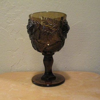 L. G. Wright/Fenton Goblet in Wild Rose pattern