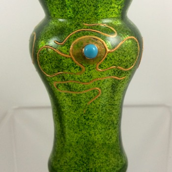 Loetz enameled aventurine mini-vase with turquoise cabochons, ca. 1903 - Art Glass