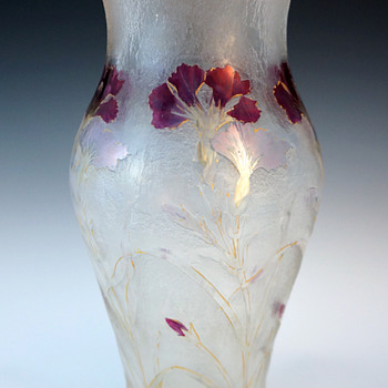 1900 Cristallerie de Pantin Acid Etched Cameo and Enameled Art Glass Vase