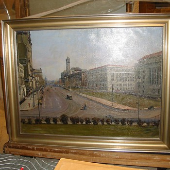 WPA 1935 Painting: 'View from south plaza of Treasury, looking north' by Dorsey Doniphan