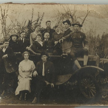 Old Family Photograph - Early Car & WWI Soldier