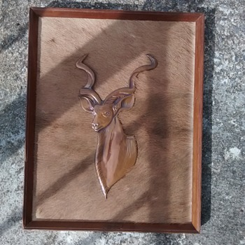 Genuine Kurdu Antelope Skin with hand beaten copperware in a wood frame - Animals