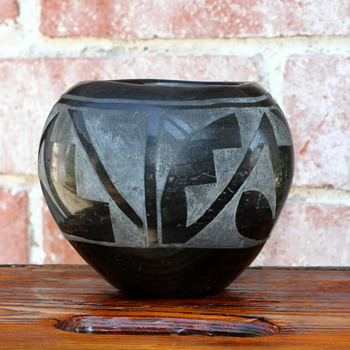 Black on Black Ceramic Bowl  - Native American