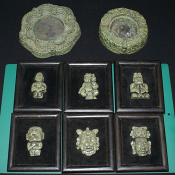 Mexican Art Wall  Stone Plaques with Looks like Candle Holder and Ash Tray
