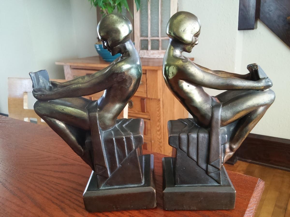Armor bronze co s c tarrant co art deco bookends collectors weekly - Armor bronze bookends ...