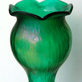 Tall Pair of Teal/Clear Rindskopf Martele Hyacinth Vases
