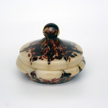 WELZ Translucent Lines & Spots Lidded Dish - Art Glass