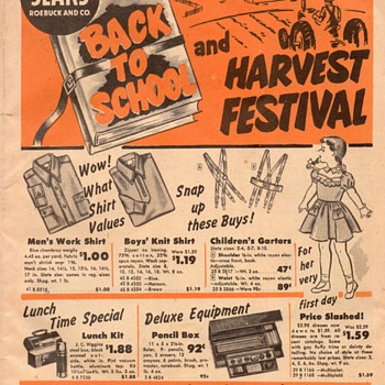 Back to School Sales....Already??      Sears Roebuck & Co Fall 1949 Mailer - Paper