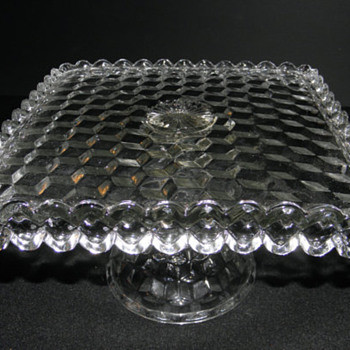 "Fostoria Crystal - ""American"" Square Pedestal Cake Slaver - Glassware"