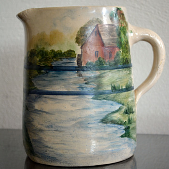 Pitcher w/Painted Scenery - Art Pottery