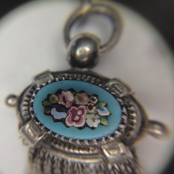 French Micro Mosaic silver flower watch chain.