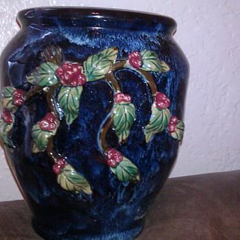 Cobalt Blue Majolica Vase - Art Pottery