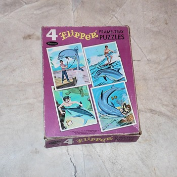 Whitman Set 4 flipper Frame Tray Puzzles 1967 - Games