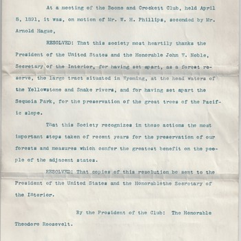 Teddy Roosevelt Signed Boone &amp; Crockett Resolution for Sequoia National Park - Paper