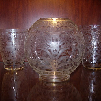 bohemian czech etched/engraved glass vases