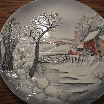 Wall Plates - Look like a Currier and Ives scene - Art Pottery