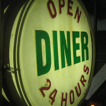 Vintage 1950's OPEN DINER 24-Hours  Vaccum foam Back-Lit /Bulb Lit Sign   - Signs