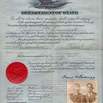 US Passport 1925 personally signed by Nobel Prize Winner KELLOGG - Paper