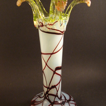 Bohemian Uranium Opalescent Threaded Vase - Art Glass