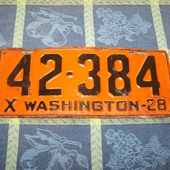 1928 Washington State Auto License Plate - Signs