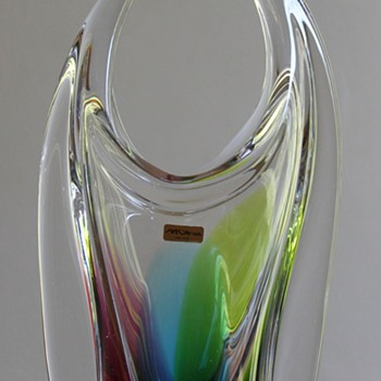 "Art Glass Japan ""Rainbow Bull"" Vase"