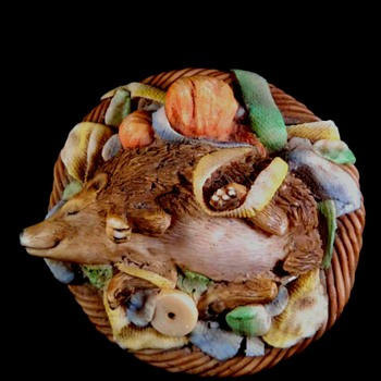 rare Ansley Hedgehog in Basket Figure/Paper weight - Art Pottery