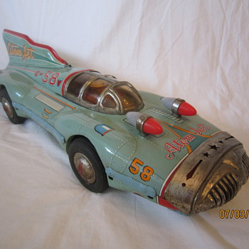 1950's Scarce/Rare Atom Jet #58 Yonezawa Japan Tin Litho Friction Furturistic Race Car